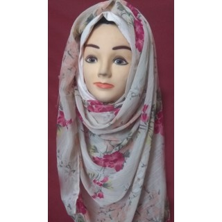 Mariam hijab -Light Pink Flower Printed